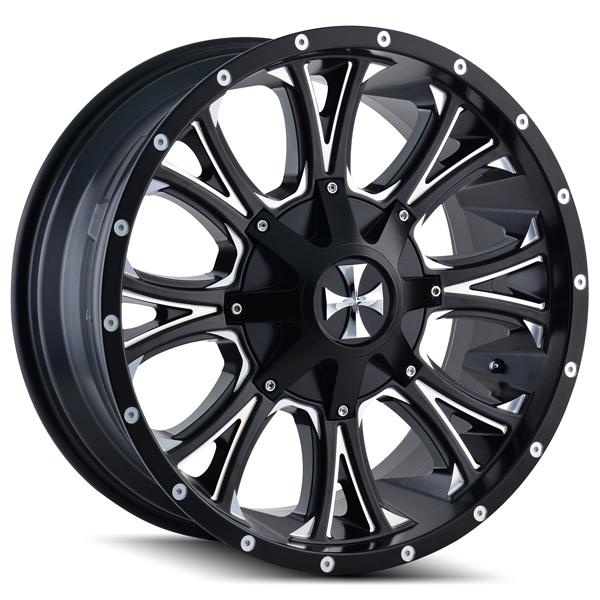 AMERICANA 9101 SATIN BLACK RIM with MILLED SPOKES by CALI OFF-ROAD WHEELS