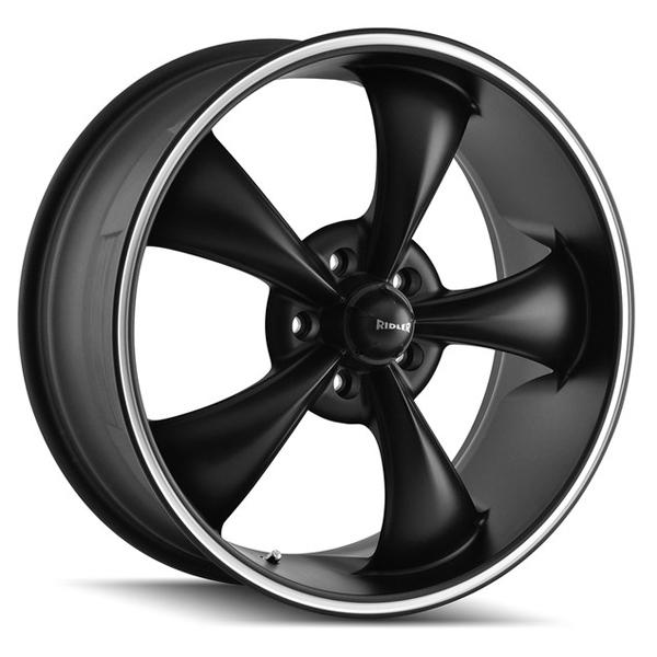 STYLE 695 BLACK RIM with MACHINED RING by RIDLER WHEELS