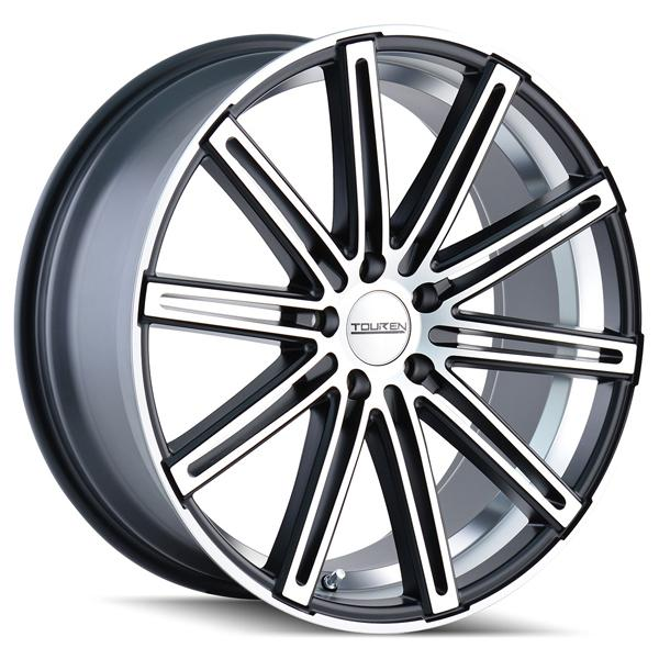 TR40 MATTE BLACK RIM with MACHINED FACE and UNDERCUT by TOUREN WHEELS