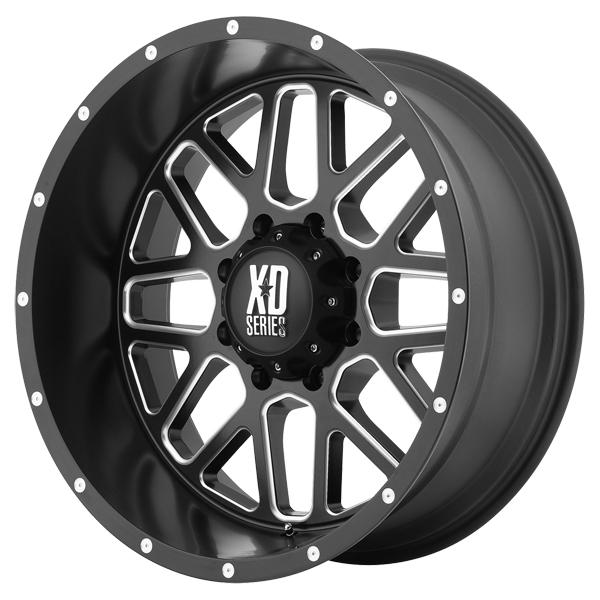 XD820 GRENADE SATIN BLACK RIM with MILLED ACCENTS by XD SERIES WHEELS