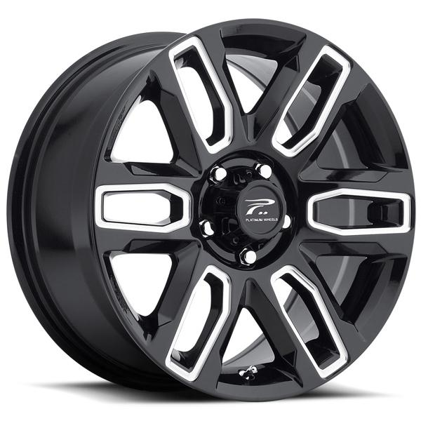 ALLURE 252 GLOSS BLACK RIM with MILLED ACCENTS by PLATINUM WHEELS