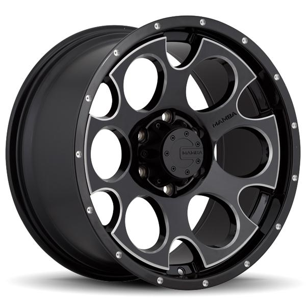 M17 GLOSS BLACK RIM with MACHINED ACCENTS and DRILL HOLES by MAMBA OFFROAD WHEELS