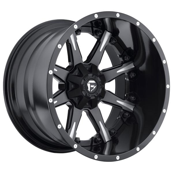 NUTZ D251 MATTE and GLOSS BLACK RIM with MILLED ACCENTS by FUEL TWO-PIECE SERIES