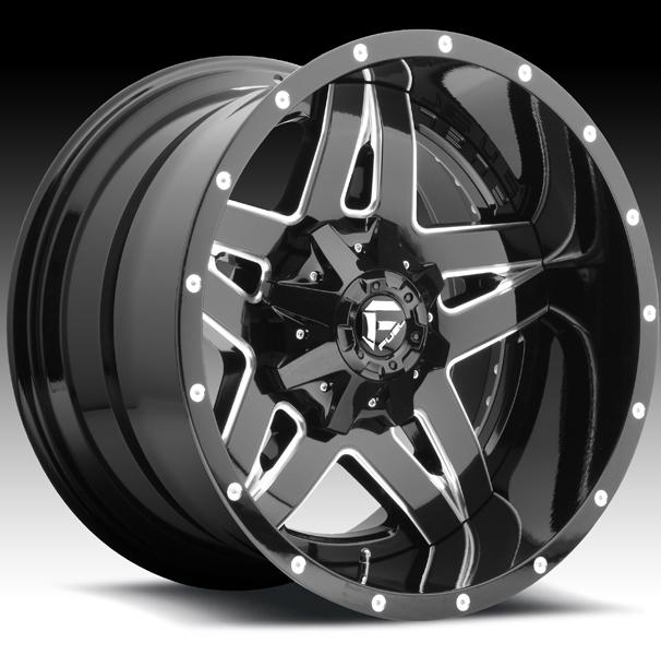 FULL BLOWN D254 GLOSS BLACK RIM with MILLED ACCENTS by FUEL TWO-PIECE SERIES