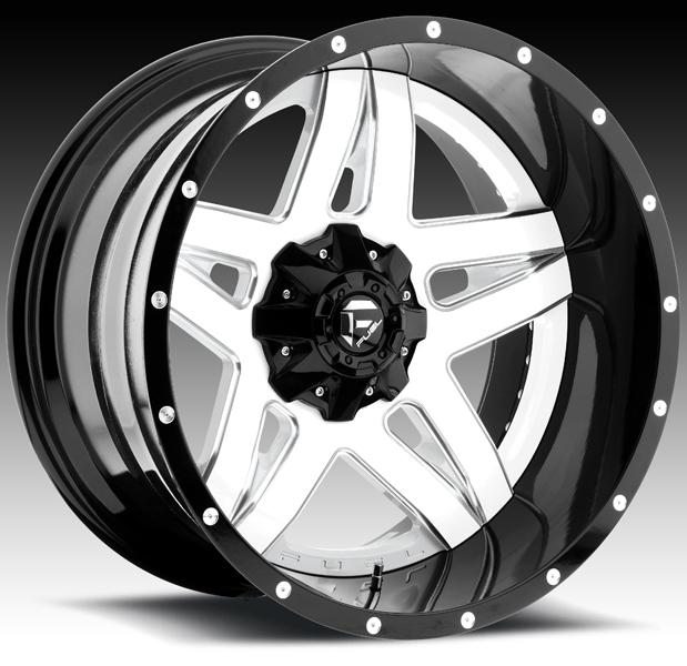 FULL BLOWN D255 GLOSS WHITE and BLACK RIM with MILLED ACCENTS by FUEL TWO-PIECE SERIES