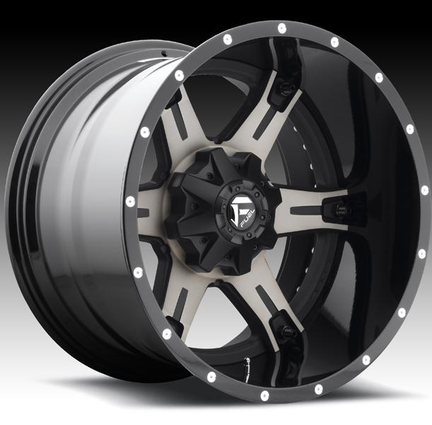 DRILLER D257 MATTE and GLOSS BLACK MACHINED DDT RIM by FUEL TWO-PIECE SERIES