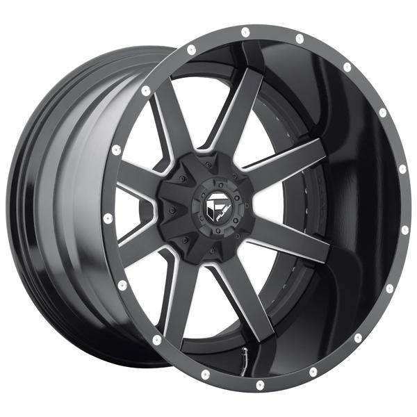 MAVERICK D262 MATTE and GLOSS BLACK RIM with MILLED ACCENTS by FUEL TWO-PIECE SERIES