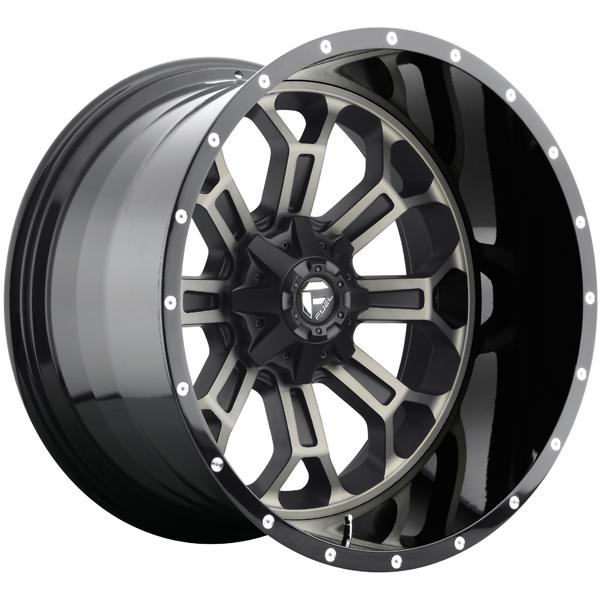 CRUSH D268 MATTE and GLOSS BLACK MACHINED RIM with DDT by FUEL TWO-PIECE SERIES