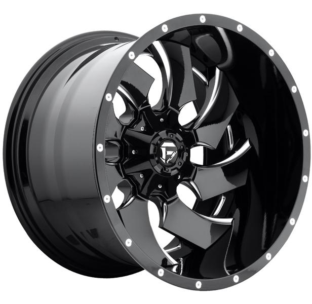CLEAVER D239 GLOSS BLACK RIM with MILLED ACCENTS by FUEL TWO-PIECE SERIES