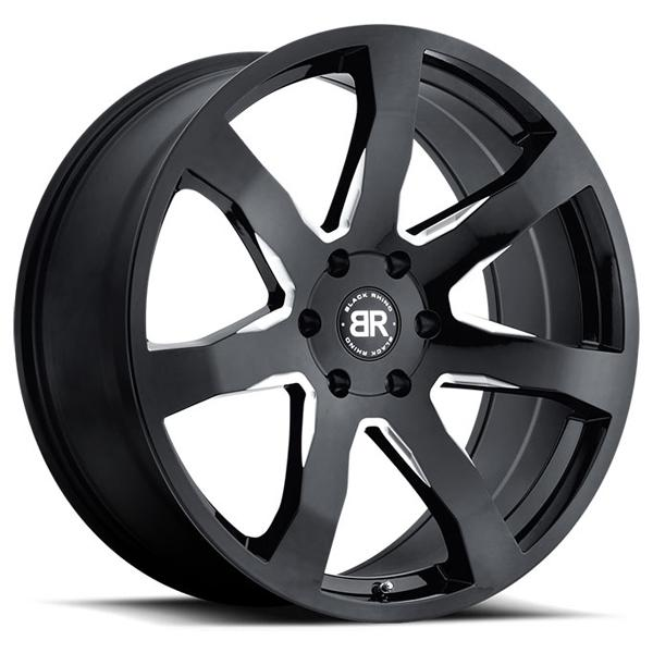 MOZAMBIQUE GLOSS BLACK RIM with MILLED SPOKES by BLACK RHINO WHEELS