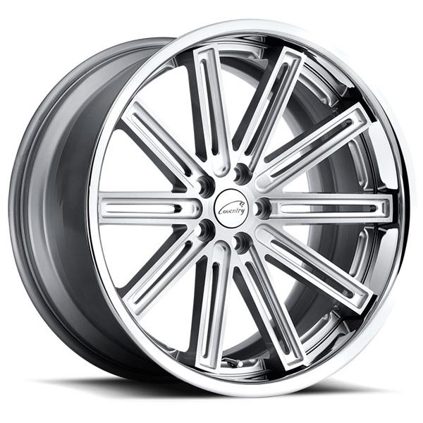 WARWICK SILVER RIM with BRUSHED FACE and CHROME STAINLESS LIP by COVENTRY WHEELS