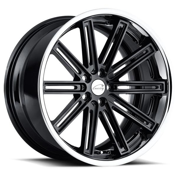 WARWICK GLOSS BLACK RIM with BRUSHED FACE and CHROME STAINLESS LIP by COVENTRY WHEELS