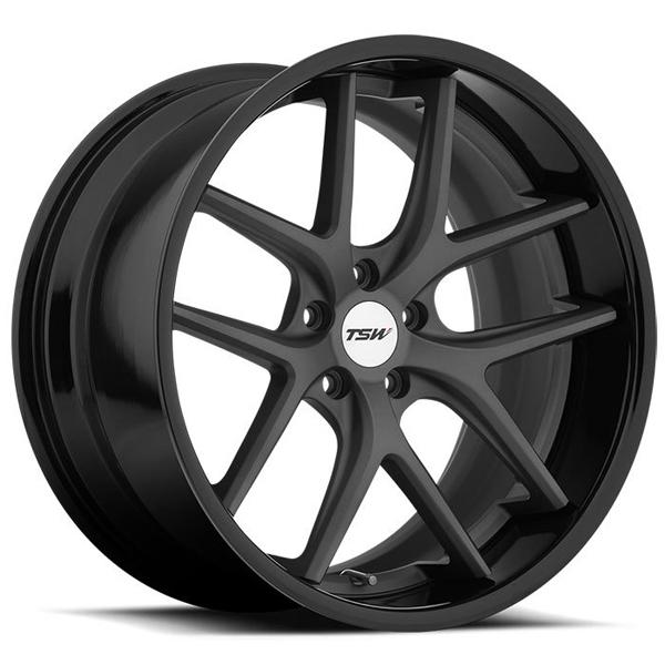 PORTIER MATTE GUNMETAL RIM with GLOSS BLACK LIP by TSW WHEELS