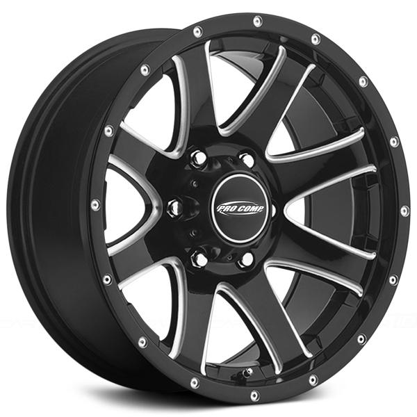 REFLEX SERIES 8186 GLOSS BLACK RIM with MILLED ACCENTS by PRO COMP ALLOYS WHEELS