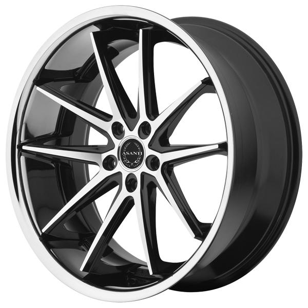 ABL-5 BLACK RIM with MACHINED FACE and SS LIP by ASANTI WHEELS