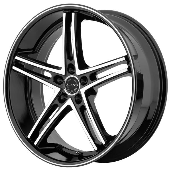 ABL-7 BLACK RIM with MACHINED FACE and BLACK LIP by ASANTI WHEELS