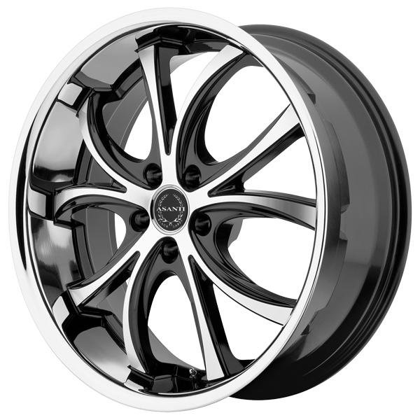 ABL-8 BLACK RIM with MACHINED FACE and SS LIP by ASANTI WHEELS