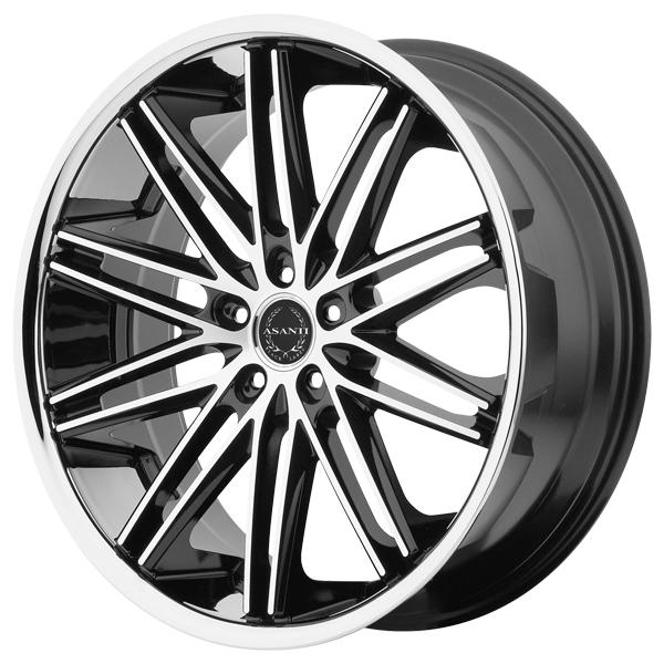 ABL-10 BLACK RIM with MACHINED FACE and SS LIP by ASANTI WHEELS