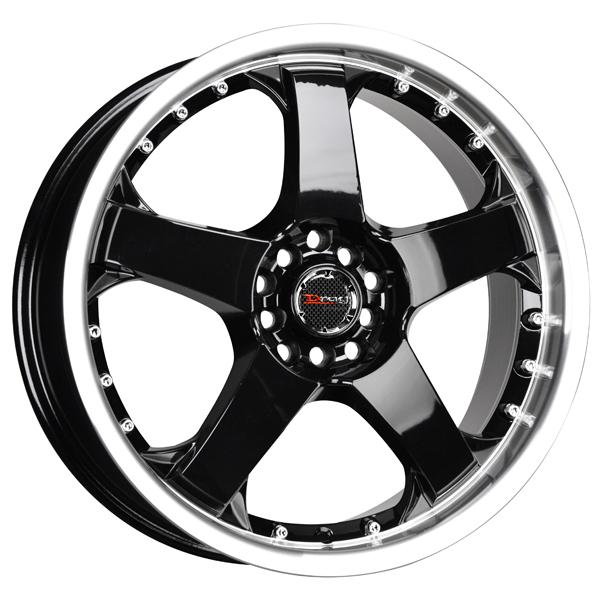 DR11 GLOSS BLACK RIM with MACHINED LIP by DRAG WHEELS