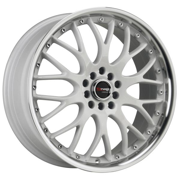 DR19 WHITE RIM with MACHINED LIP by DRAG WHEELS