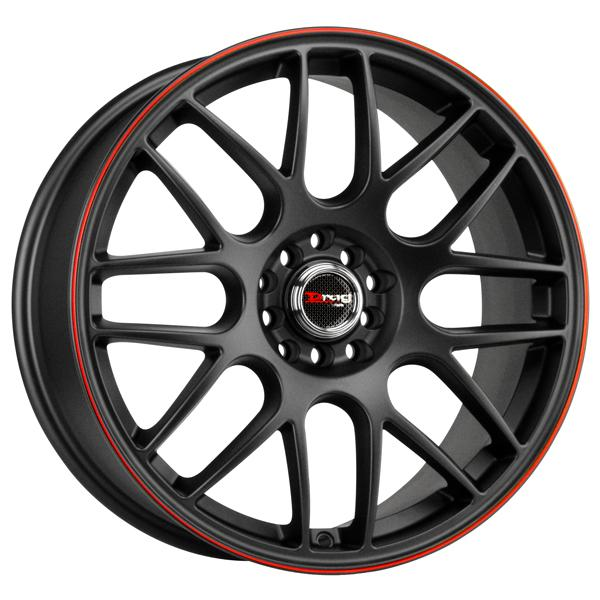 DR34 FLAT BLACK RIM with RED STRIPE by DRAG WHEELS