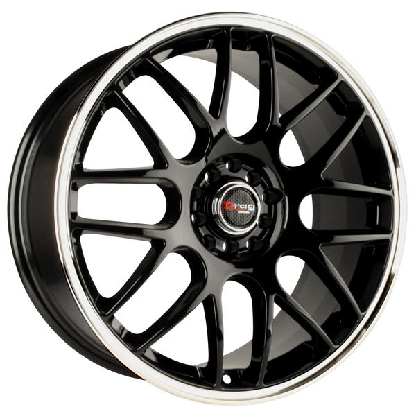 DR34 GLOSS BLACK RIM with MACHINED LIP by DRAG WHEELS