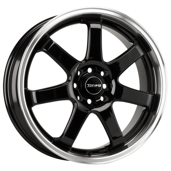 DR35 GLOSS BLACK RIM with MACHINED LIP by DRAG WHEELS