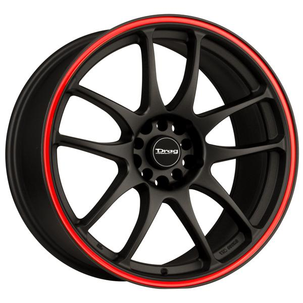 DR31 FLAT BLACK RIM with RED STRIPE by DRAG WHEELS