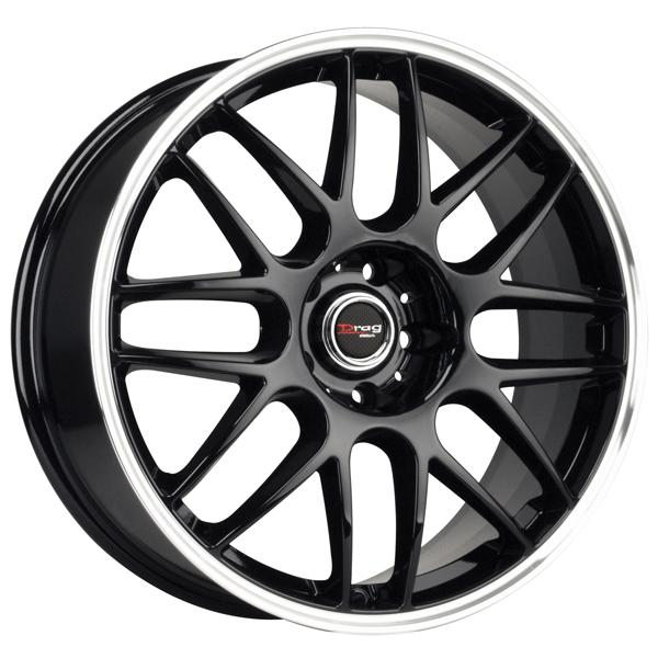 DR37 GLOSS BLACK RIM with MACHINED LIP by DRAG WHEELS