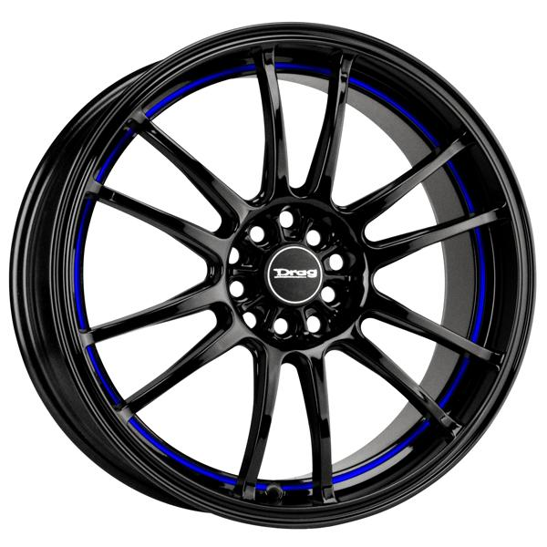 DR38 GLOSS BLACK RIM with UNDERCUT BLUE STRIPE by DRAG WHEELS