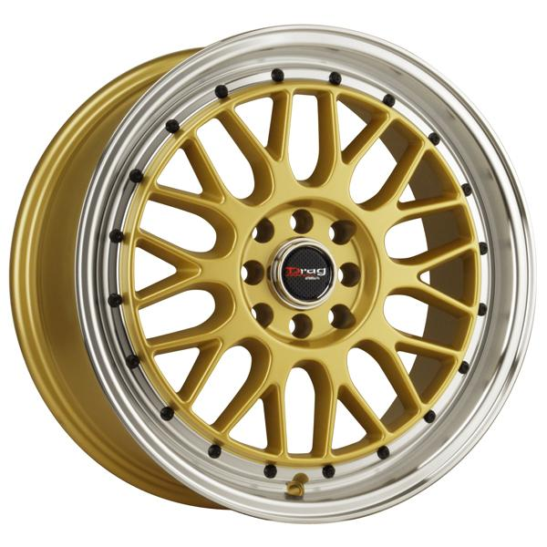 DR44 GOLD RIM with MACHINED LIP and BLACK RIVETS by DRAG WHEELS