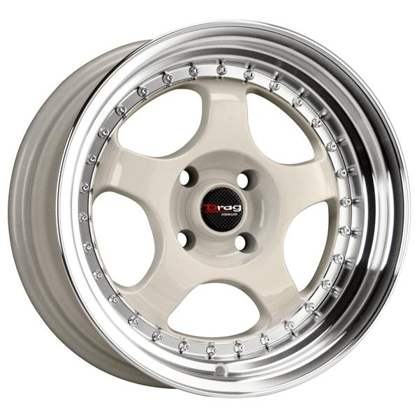 DR46 WHITE RIM with MACHINED LIP by DRAG WHEELS