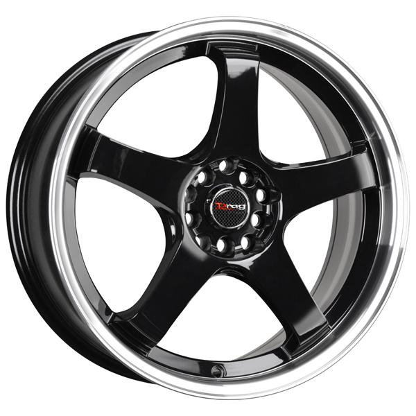 DR63 GLOSS BLACK RIM with MACHINED LIP by DRAG WHEELS