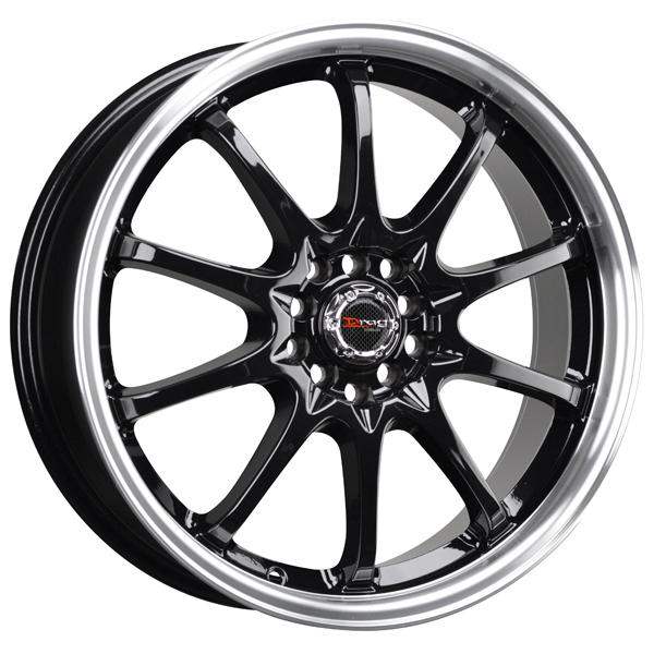 DR9 GLOSS BLACK RIM with MACHINED LIP by DRAG WHEELS