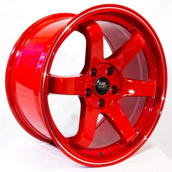 MT01 RED RIM with MACHINED FLANGE by MST WHEELS