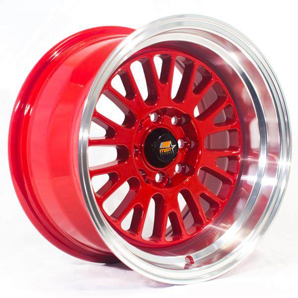 MT02 RED RIM with MACHINED LIP by MST WHEELS