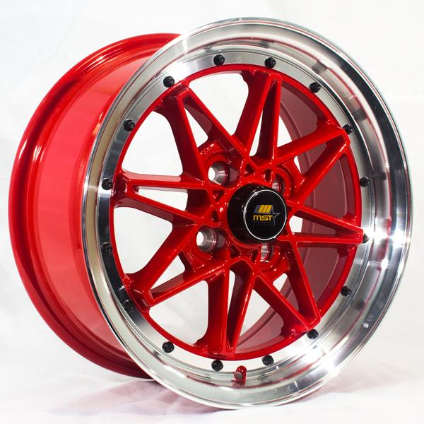 MT03 RED RIM with MACHINED LIP by MST WHEELS