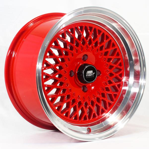 MT05 RED RIM with MACHINED LIP by MST WHEELS