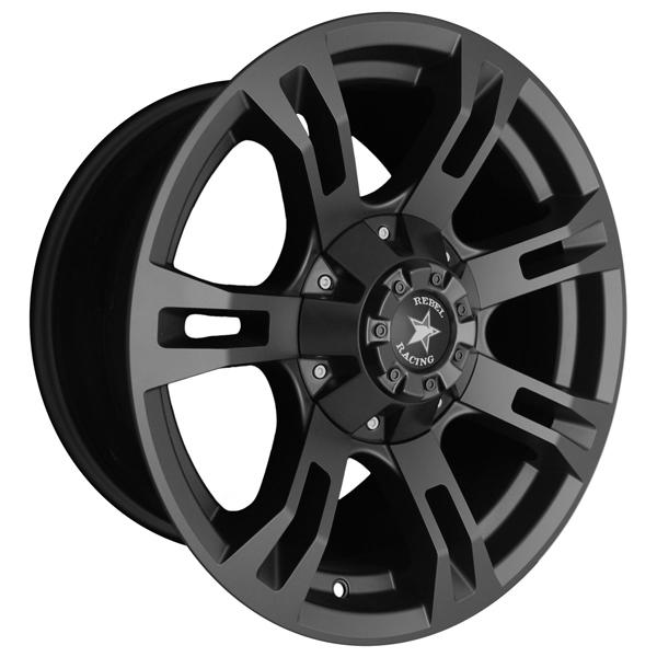 BUCKSHOT MATTE BLACK RIM by REBEL RACING WHEELS