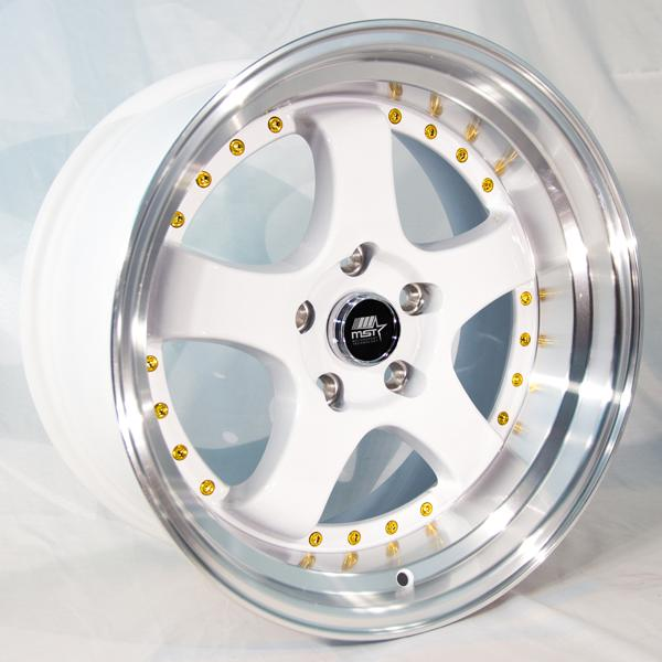 MT07 WHITE RIM with MACHINED LIP and GOLD RIVETS by MST WHEELS