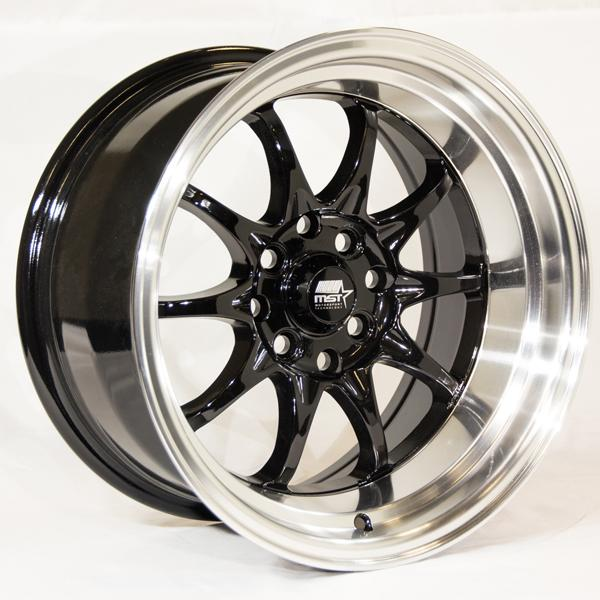 MT11 BLACK RIM with MACHINED LIP by MST WHEELS