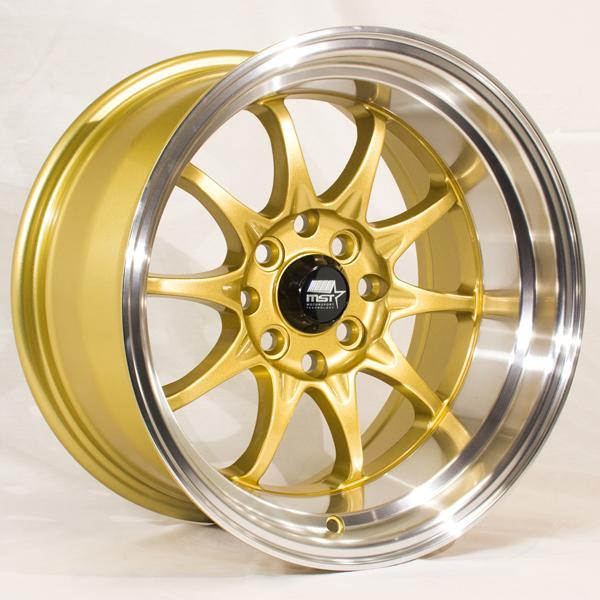 MT11 GOLD RIM with MACHINED LIP by MST WHEELS