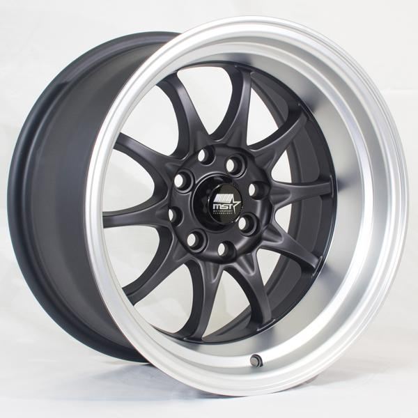 MT11 MATTE BLACK RIM with MACHINED LIP by MST WHEELS