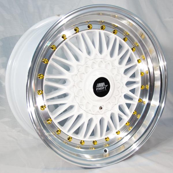 MT13 WHITE RIM with MACHINED LIP and GOLD RIVETS by MST WHEELS