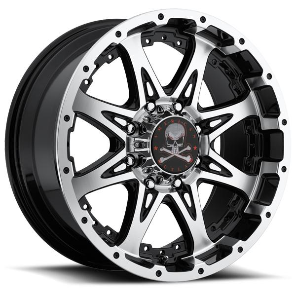 BUCKSHOT BLACK RIM with MACHINED FACE by AMERICAN OUTLAW WHEELS