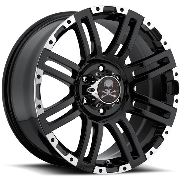 BUNKER BLACK RIM with MACHINED FACE by AMERICAN OUTLAW WHEELS