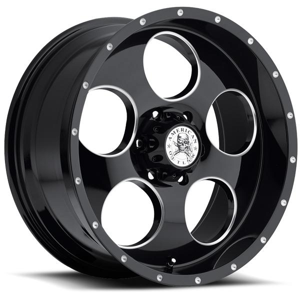 GRIT GLOSS BLACK RIM with BALL MACHINE by AMERICAN OUTLAW WHEELS