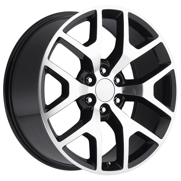 GMC SIERRA 2014 STYLE 44 BLACK MACHINED FACE RIM by FACTORY REPRODUCTIONS WHEELS