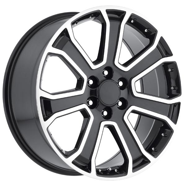 GMC 2015 YUKON DENALI STYLE 49 BLACK MACHINED FACE RIM by FACTORY REPRODUCTIONS WHEELS