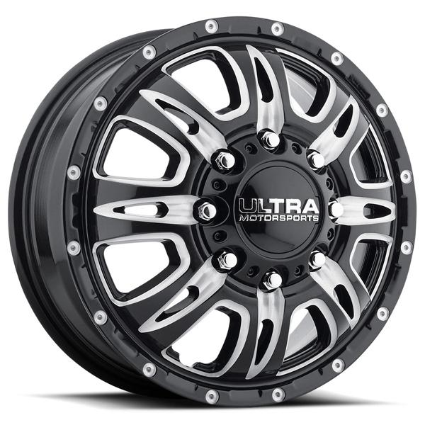 PREDATOR DUALLY 049 GLOSS BLACK FRONT RIM with MILLED ACCENTS by ULTRA WHEELS